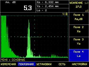экран ультразвукового дефектоскопа УСД-60