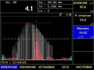 огибающая сигнала на ультразвуковом дефектоскопе